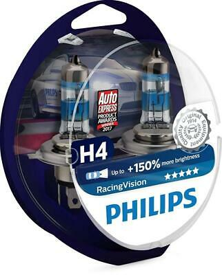 Philips RacingVision + 150% Ampoule Phare H4 12342RVS2, Bleu, Set de 2, Twin box