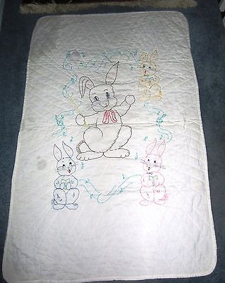 Vintage Hand Quilted baby Quilt- EMBROIDERED BUNNIES