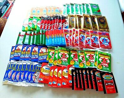 Huge 100 Baseball Wax Pack Lot Unopened Baseball Cards Vintage 20+ Years Old