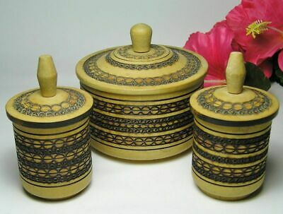 3 POKER WORK Wooden WOOD BOXES Hand Made Pyrography TREEN JARS ~ POLAND
