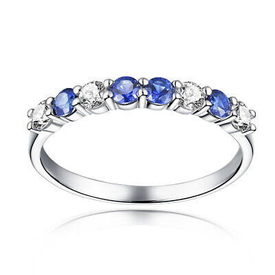 Fine Jewelry Sapphires Cubic Zirconia Gemstone Vintage Ring Solid 18K White Gold