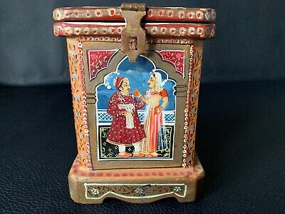 RARE UNIQUE ANTIQUE PERSIAN TEA CADDY WOODEN BOX HAND PAINTED Height 5 3/4""