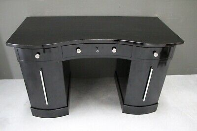 Antique Art Deco pedestal writing desk superb Piano black french polish 1925's