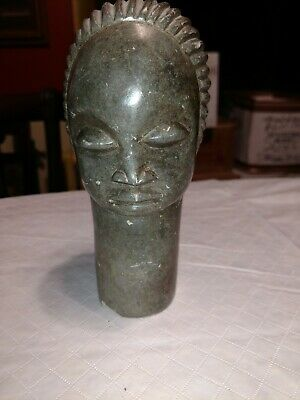Antique handcarved green marble bust of lady-Beautiful-LOOK!! 2 shipping options