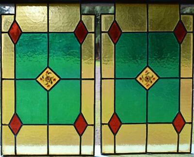 *Antique Pair of French Stained/Leaded Glass Panels with Flowers