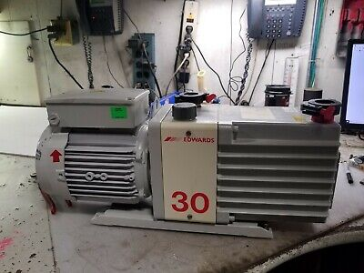 Edwards E2M3 Two Stage Rotary Vane Vacuum Pump 240 Vac 1 Phase .90 Kw 1740 Rpm