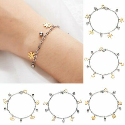 Women Stainless Steel Charm Butterfly Dragonfly Adjustable Chain Bracelet Bangle
