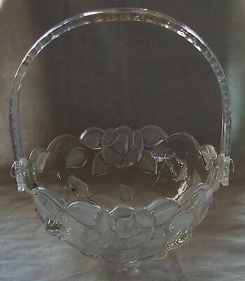 Glass BOWL with Embossed Flower Design and a Clear Plastic Handle
