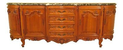 30707EC: Large French Carved Walnut Green Marble Top Sideboard ~ 9 Feet