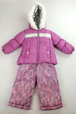 552c4b4a3 London Fog Baby Girls Snowsuit with Snowbib and Puffer Jacket, Pink/Gray 2T  2018