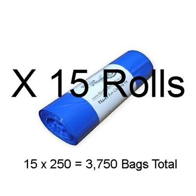 3750 Dog Waste Bags 15 Rolls of 250 @ 3/4mil Thick Biodegradable Pet Poop #15.3