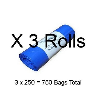 "750 Dog Poop Bags 3 Rolls of 250 Printed Biodegradable Pet Waste 8"" X 14""  #16.5"