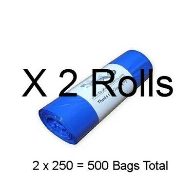 """500 Dog Poop Bags (2 Rolls of250) Blue Biodegradable Waste Collection 8x14"""" #10a"""