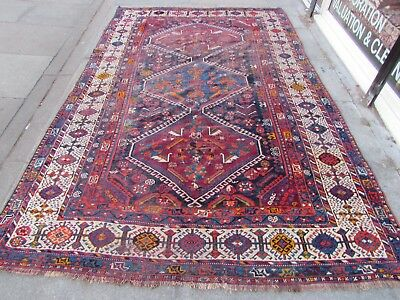 Antique Traditional Hand Made Persian Oriental Wool Blue Large Carpet 292x190cm