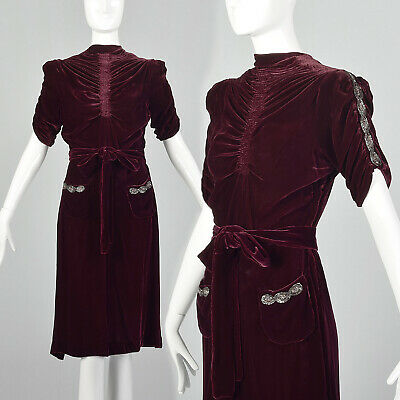 Small 1930s Silk Velvet Day Dress Beaded 30s Day Cocktail Party Maroon Deco VTG