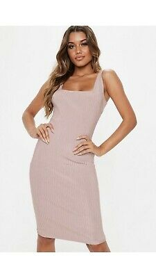 b3a307421b95 Missguided Mauve Bandage Bodycon Midi Nude Pink Dress Size 10 Sold Out  Online