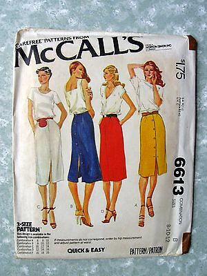 VTG 1979 Sewing Pattern McCall 6613 Front or Back Button Skirt Sz 8-10-12 Uncut