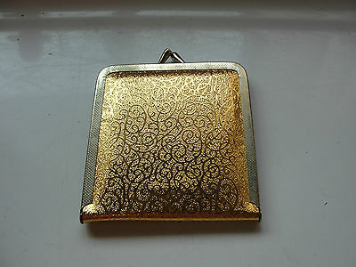 Coin purse styled compact mirror, old, gold tone foiled, bifold
