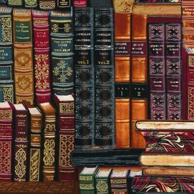 Library Stacked Vintage Books Gold Metallic Thread Cotton Fabric Fat Quarter