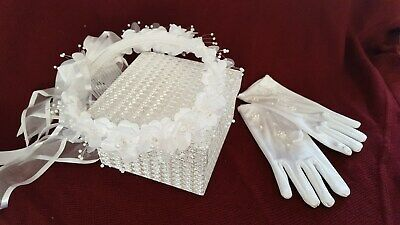 Bridesmaid- Flower girl   White Satin Gloves & White Flower Halo with Ribbons