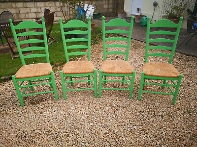 Painted Oak Ladder Back Rush Seat Dining Chairs In Antibes