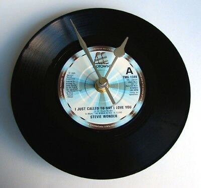 "STEVIE WONDER Vinyl CLOCK "" I Just Called To Say I Love You "" recycled 7"" record"