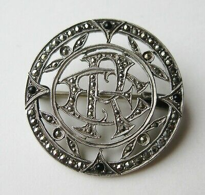 Fine Antique Victorian Sterling Silver Marcasite Monogrammed Vintage Brooch Pin