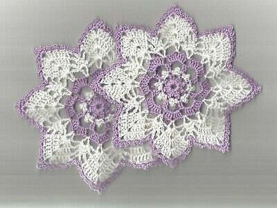 """2 Crochet Doilies Small Lace White and Wood Violet 6"""""""""""