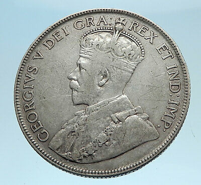 1918 CANADA - UK King George V - Authentic Original SILVER 50 CENTS Coin i77782