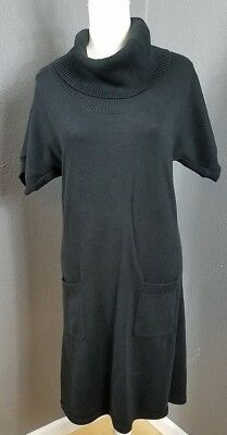 109634ee4dd Athleta L Sweater Dress Black Pockets Cowl Turtleneck Long Tunic Stretch SS