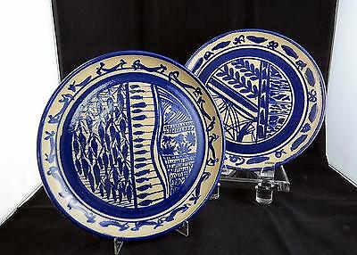 "Studio Art Pottery Hand Painted Signed 2 Pc Cobalt Blue Design 9 3/4"" Plates"