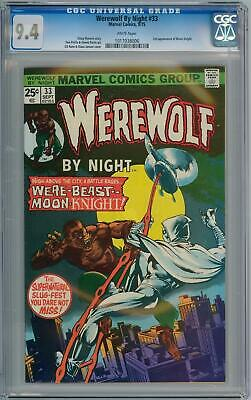 Werewolf By Night #33 Cgc 9.4 Wp 2Nd Appearance Moon Knight Cents Marvel Comics