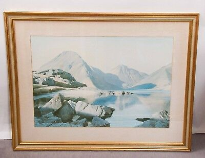 W Heaton Cooper framed picture Lake District Clear Evening Wastwater Cumbria