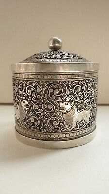 Kutch Silver Lidded Jar Pot engraved with scrolling foliage and animals, 19th C