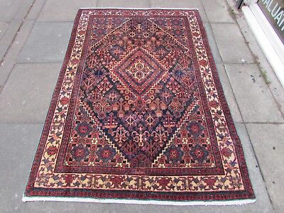 Antique Traditional Old Hand Made Persian Oriental Wool Blue Red Rug 193x130cm
