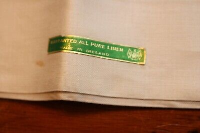 Vintage Pair Linen White Pillowcases 21x34 Made in Ireland Tag
