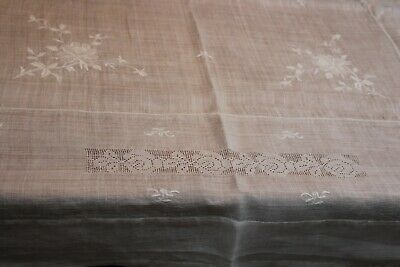 Vintage Snowy White Lawn Linen Tablecloth 48x56k Padded Embroidery ++