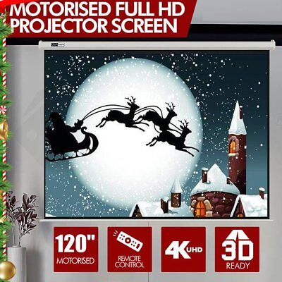 """120"""" -Inch 4:3 Electric Motorized HD Projector Projection Screen Cinema Theater"""