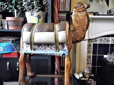 """Unusual Vintage Foot Stool Carved Wooden Camel With Saddle & Brocade Detail 25"""""""