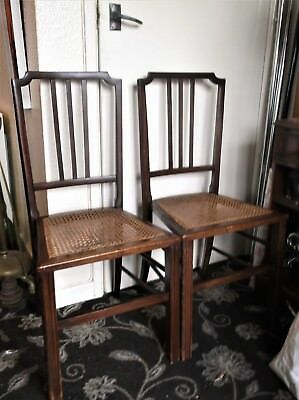 Pair Of Antique Dining / Hall Chairs Carved Legs Cane Bergere Seats Lovely Tone