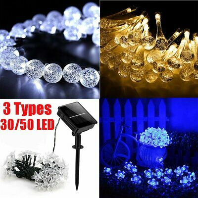 30/50 LED Solar Powered Retro Bulb String Lights For Garden Outdoor Fairy Lamp