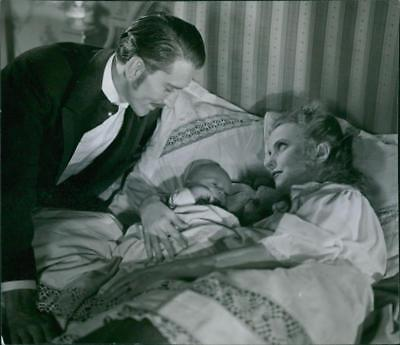 """Lauritz Falk and Vibeke Falk in a scene from the 1944 Swedish drama film, """"The C"""