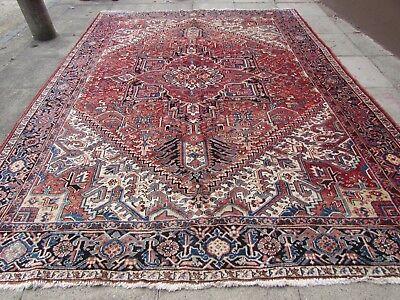 Antique Traditional Hand Made Persian Oriental Wool Red Large Carpet 366x275cm