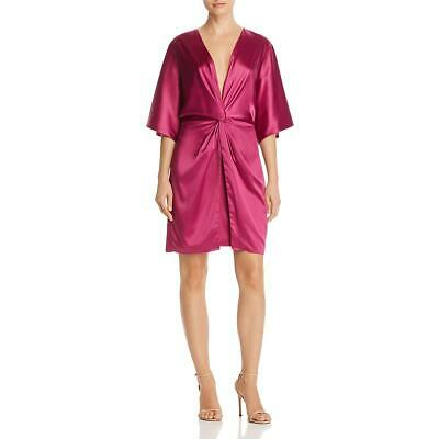 Laundry by Shelli Segal Womens Pink Satin Knot-Front Cocktail Dress 14 BHFO 7072