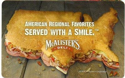 Mcalister's Deli  Gift Card $10.00
