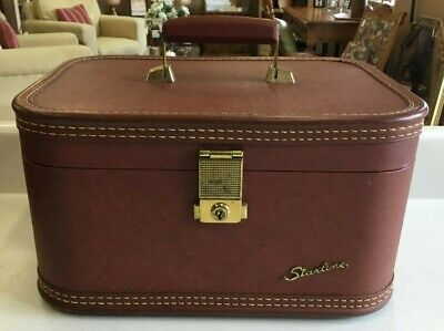 Vintage Brown Starline Hard Luggage Train Case Carry On with key