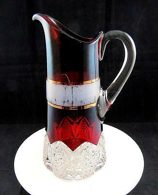 """George Duncan Button Arches Ruby Stain & Gold Band Large 11 1/8"""" Tankard Pitcher"""