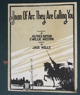 1917 WWI Era Joan of Arc They Are Calling You Patriotic Military sheet music!*