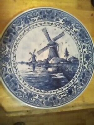 Beautiful vintage delft blauw blue windmill plate Holland