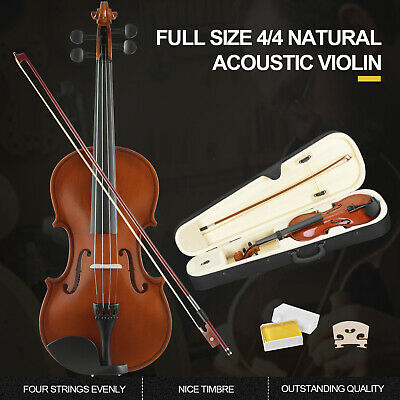 4/4 Full Size Acoustic Violin with Bow,Case,Rosin & Chin Rest Set for Beginner